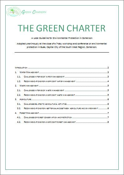 Green Charter 2013 - Green Cameroon